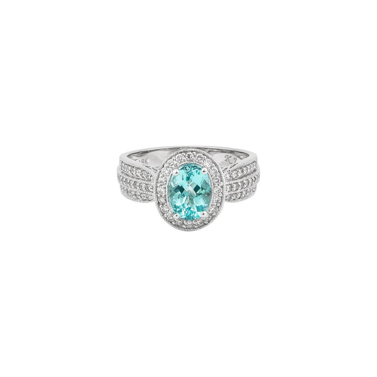 1.4 Carat Paraiba and White Diamond Ring in 18 Karat White Gold For Sale 1
