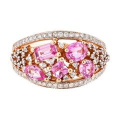 1.4 Carat Pink Sapphire Ring with Diamond in 18 Karat Rose Gold