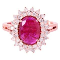1.4 Carat Ruby Diamond 18 Karat Cocktail Ring