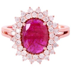1.4 Carat Ruby Diamond 18 Karat Cocktail Ring
