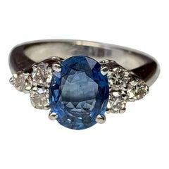 1.4 Carat Sapphire Diamond Engagement Ring 18 Karat White Gold Wedding
