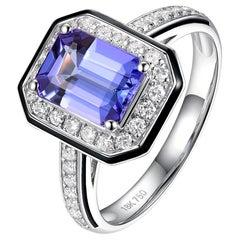 1.4 Carat Tanzanite Diamond Enamel Ring in 18 Karat White Gold