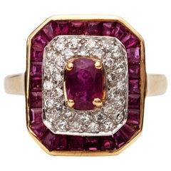 1.4 Carat Total Ruby and Diamond Ring, 14 Karat Gold