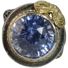 14 Carat White Gold Filigree Blue Lilac Stone Solitaire Ring