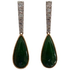 14 Carat Yellow and White Gold High Level Jade and Diamond Earrings