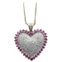 14 Carat Yellow and White Gold Ruby and Diamond Heart Pendant