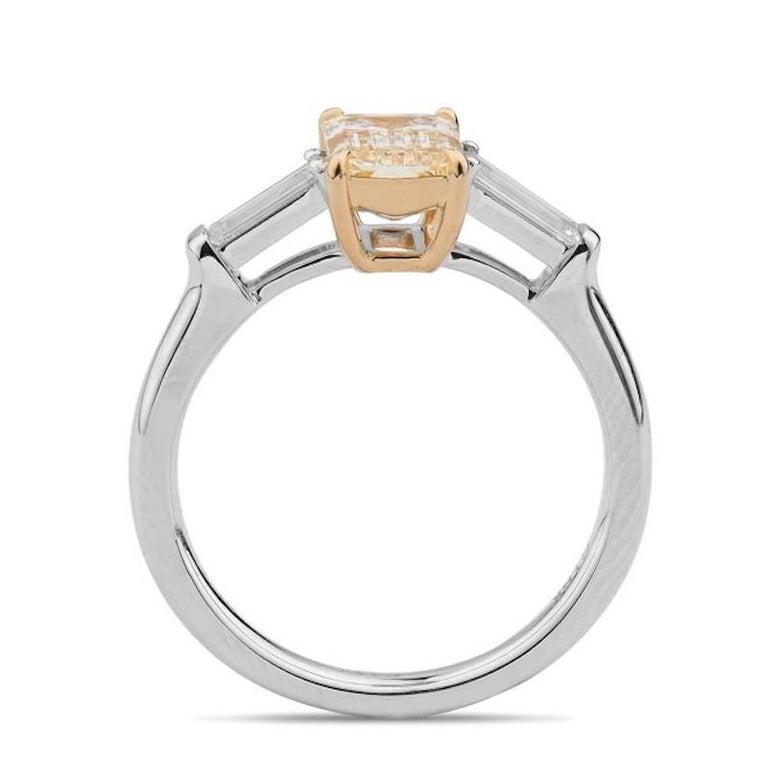 Emerald Cut 1.4 Carat Yellow Diamond Ring For Sale