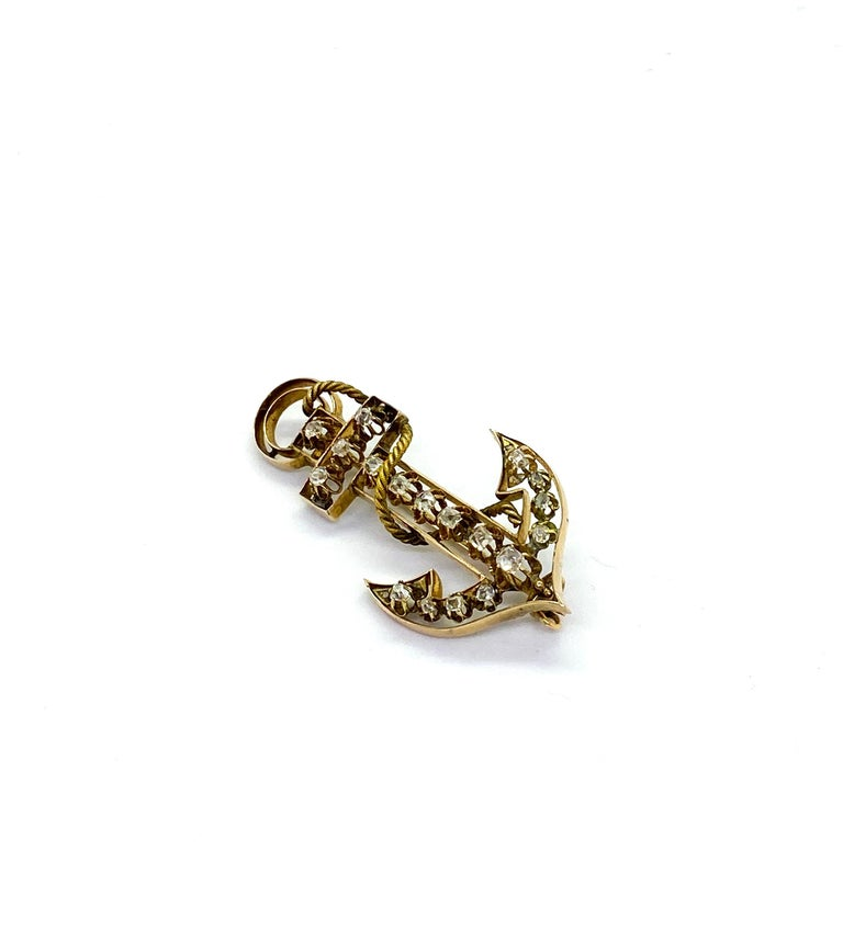 14 Carat Yellow Gold 18 Diamonds Saint Petersburg Russia Anchor Brooch 14k gold, Russian gold stamp 56 and CS Saint Petersburg Width 2.6cm, Lenght 5.2cm, Depth 1.8cm This Jewelry has been on exhibition Design Museum 2009-2010 Finnish Jewel,
