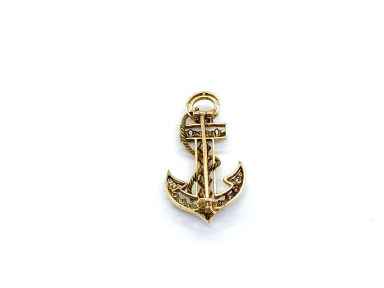 Women's or Men's 14 Carat Yellow Gold 18 Diamonds Saint Petersburg Russia Anchor Brooch For Sale