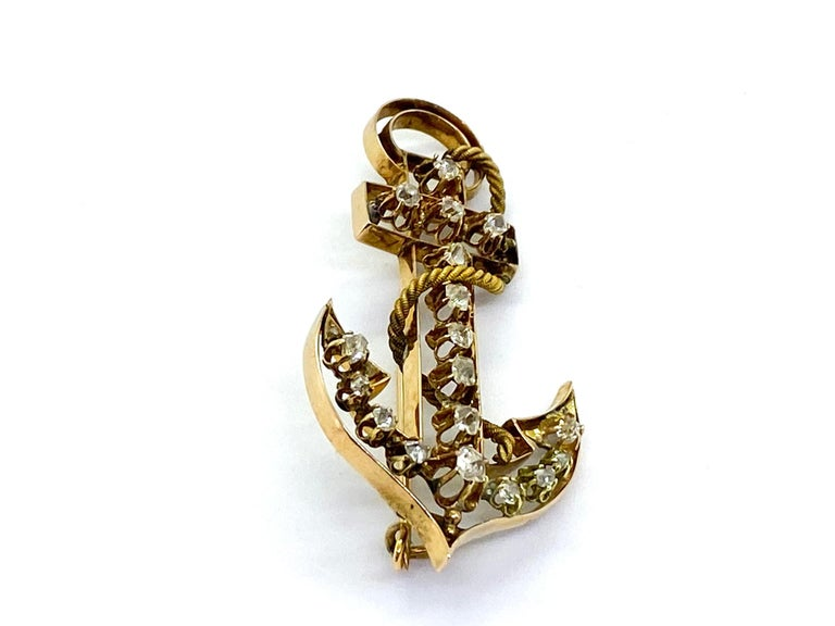 14 Carat Yellow Gold 18 Diamonds Saint Petersburg Russia Anchor Brooch For Sale 1