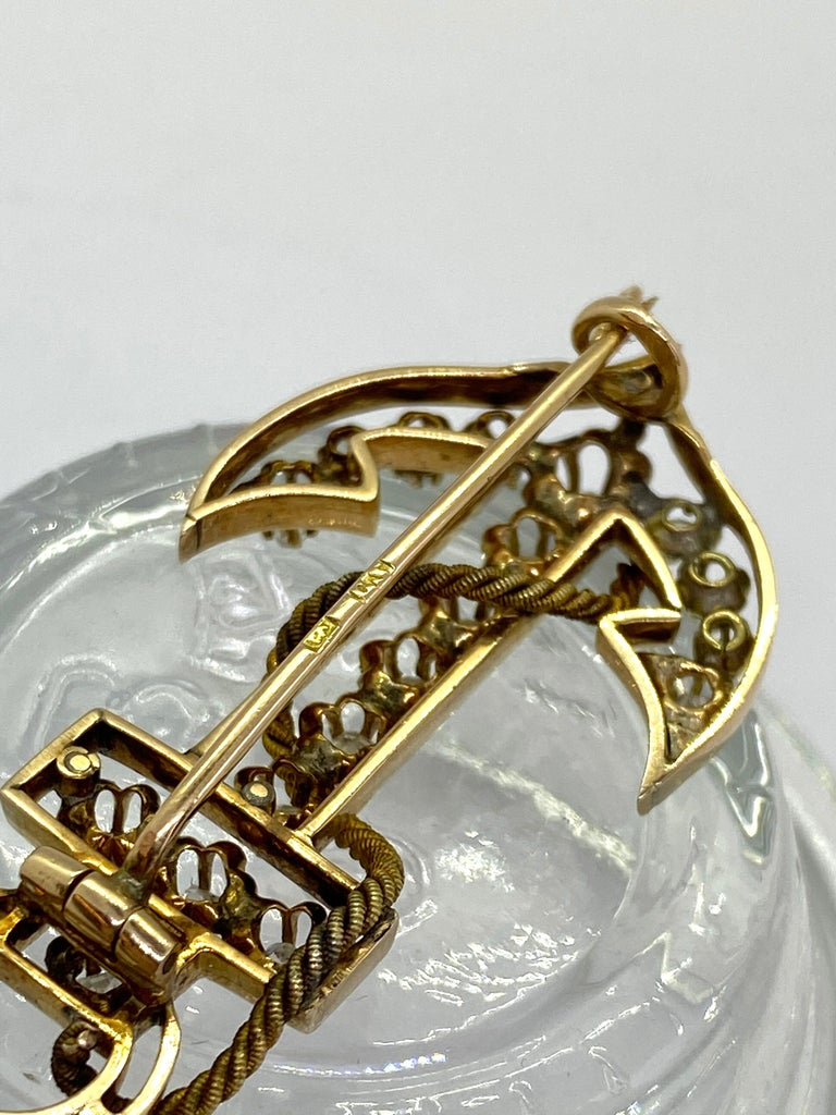14 Carat Yellow Gold 18 Diamonds Saint Petersburg Russia Anchor Brooch For Sale 2