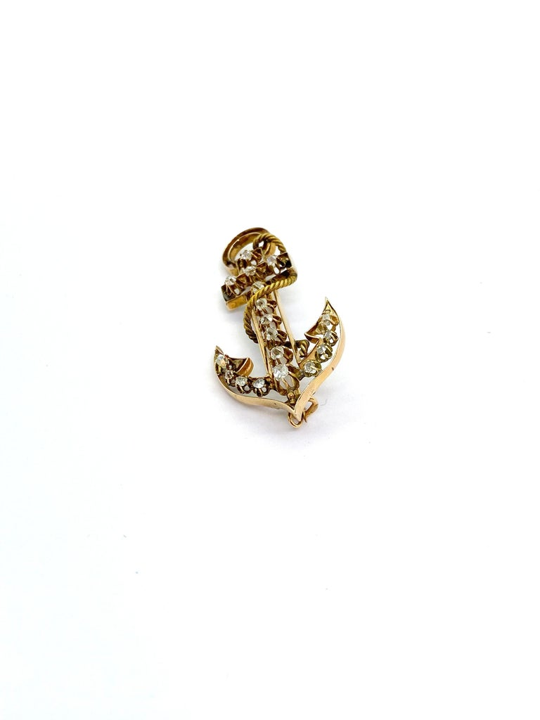 14 Carat Yellow Gold 18 Diamonds Saint Petersburg Russia Anchor Brooch For Sale 3