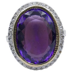 14 Carat Yellow Gold Amethyst and Diamond Dress Ring