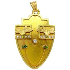14 Carat Yellow Gold Art Deco Moscow Diamonds Green Stone Locket
