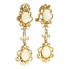 14 Carat Yellow Gold Australian Solid Crystal Opal Drop Clip On Earrings