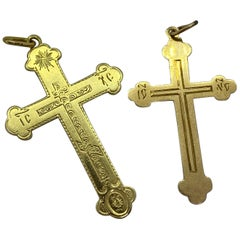14 Carat Yellow Gold Cross Russia and Estonia Pendant Necklaces