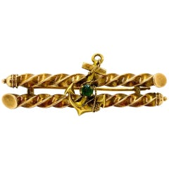 14 Carat Yellow Gold Green Emerald Russia Anchor Barrette Brooch