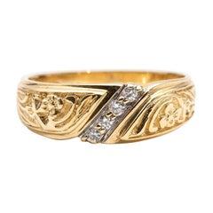 14 Carat Yellow Gold Round Brilliant Cut Diamond Vintage Wedding Band Ring