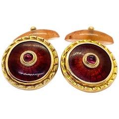 14 Carat Yellow Gold Russian Guilloche Enamel Red Stone Cufflinks