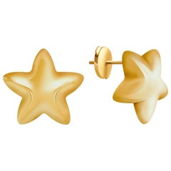 14 Carat Yellow Gold Star Stud Earrings