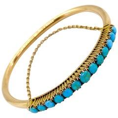 14 Carat Yellow Gold Turquoise Stones Russia Saint Petersburg Bracelet