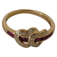 14 Carat Yellow Gold Twin Ruby and Diamond Heart Ring