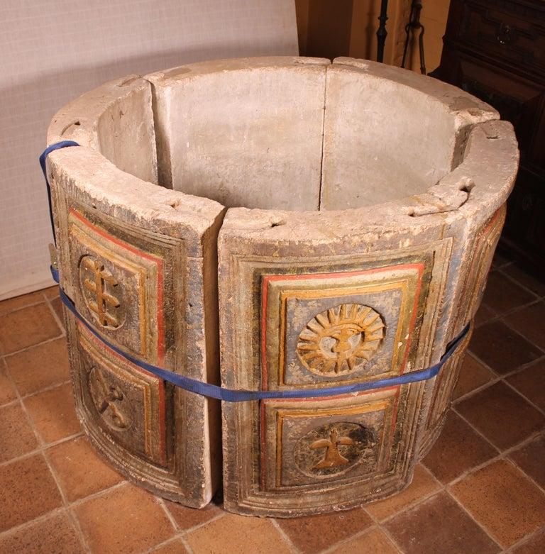 14th Century Baptismal Font in Stone from Spain Original Polychromy 4