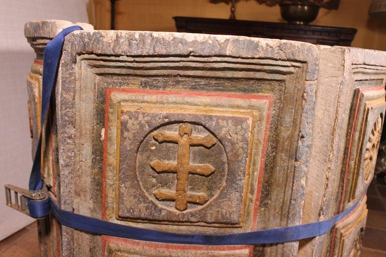 14th Century Baptismal Font in Stone from Spain Original Polychromy 5