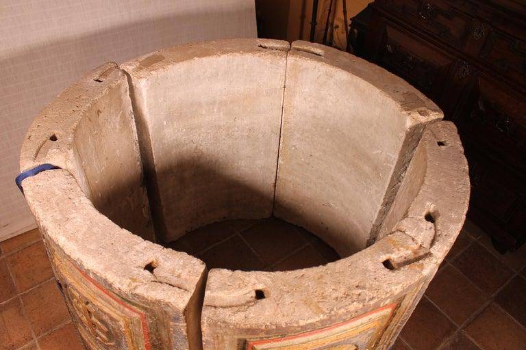 14th Century Baptismal Font in Stone from Spain Original Polychromy 6