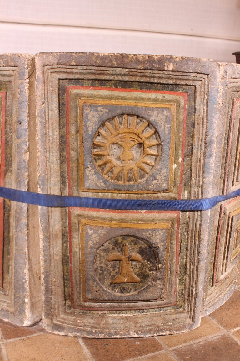 Rare baptismal font of the 14th century of Spain from the region of Castile   Very beautiful piece that has its original polychromy.   The baptismal front is composed of 6 carved stone elements. We have separated them to facilitate the transport