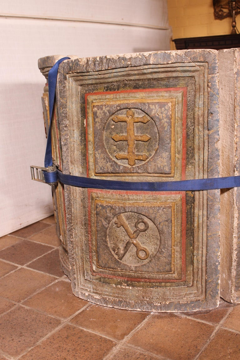 Spanish 14th Century Baptismal Font in Stone from Spain Original Polychromy