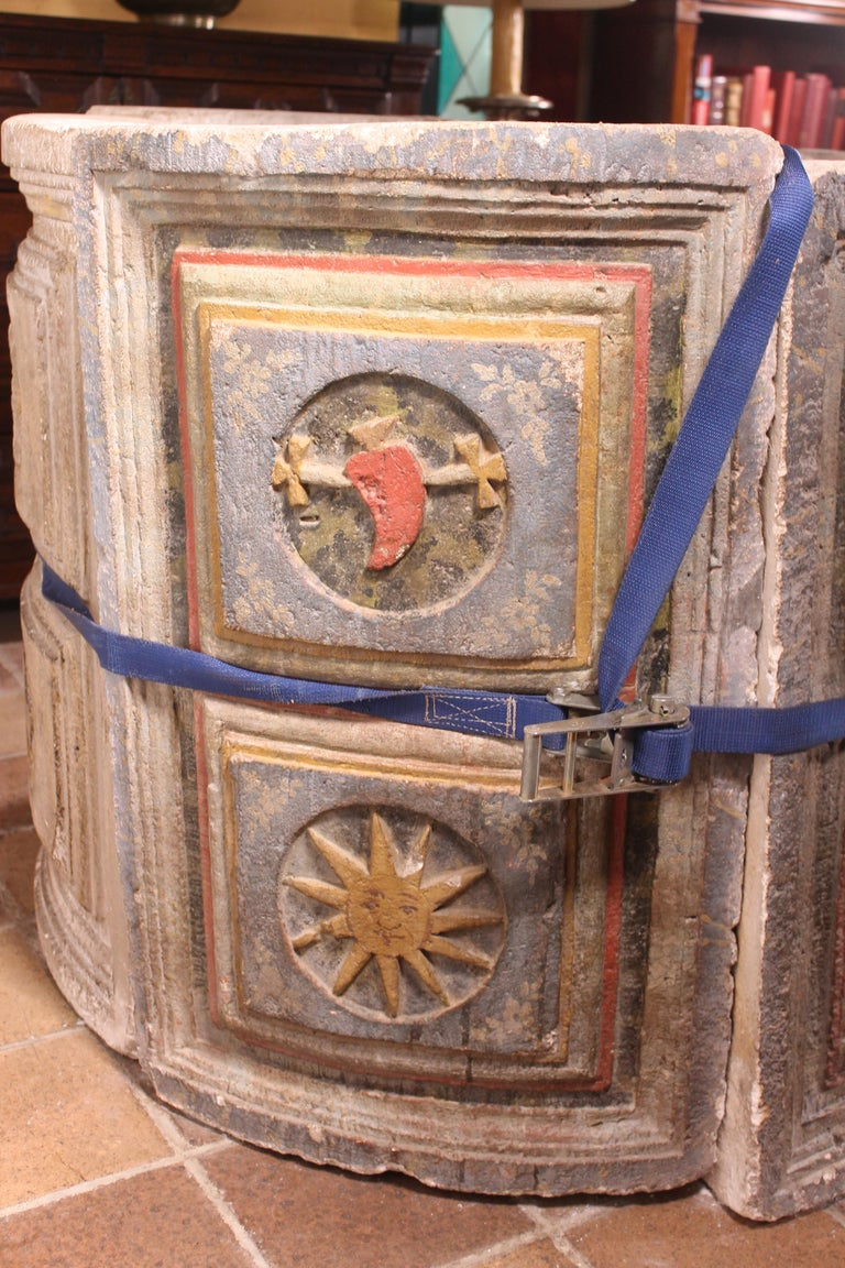 18th Century and Earlier 14th Century Baptismal Font in Stone from Spain Original Polychromy