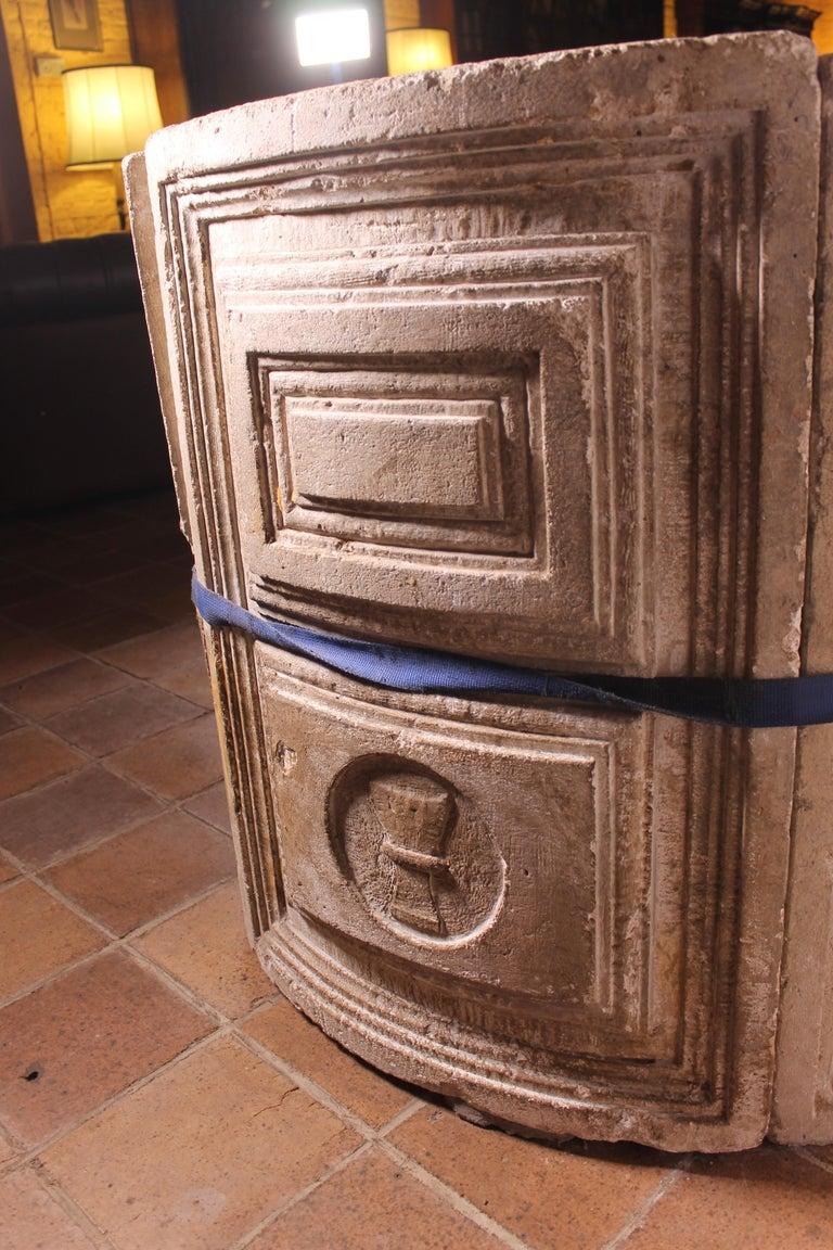 14th Century Baptismal Font in Stone from Spain Original Polychromy 1
