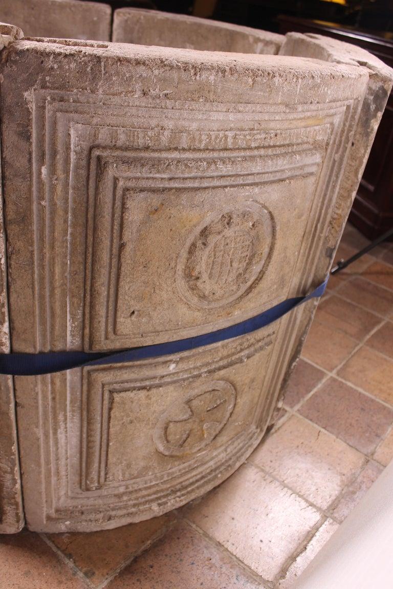 14th Century Baptismal Font in Stone from Spain Original Polychromy 2