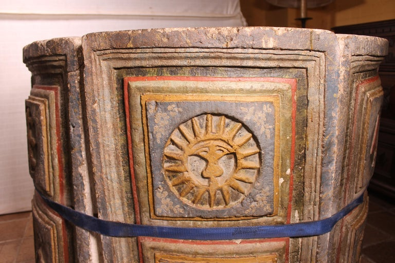 14th Century Baptismal Font in Stone from Spain Original Polychromy 3