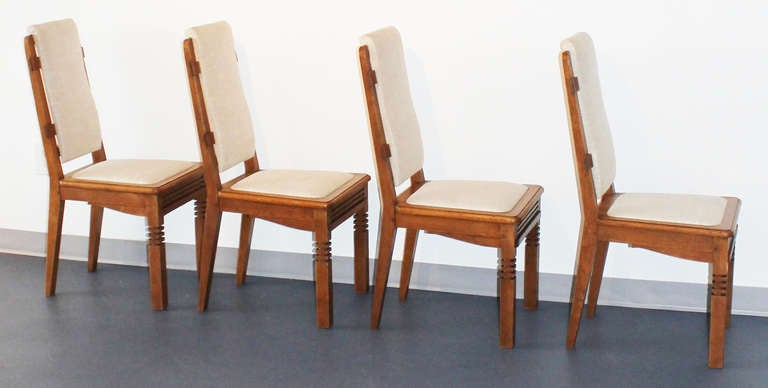 Mid-Century Modern 14 Chairs in Oak Designed by Charles Dudouyt For Sale