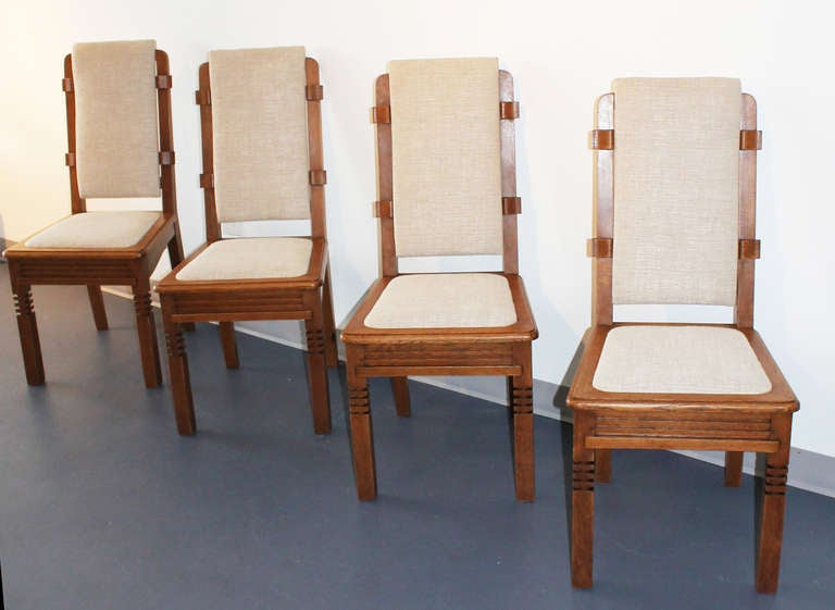 French 14 Chairs in Oak Designed by Charles Dudouyt For Sale