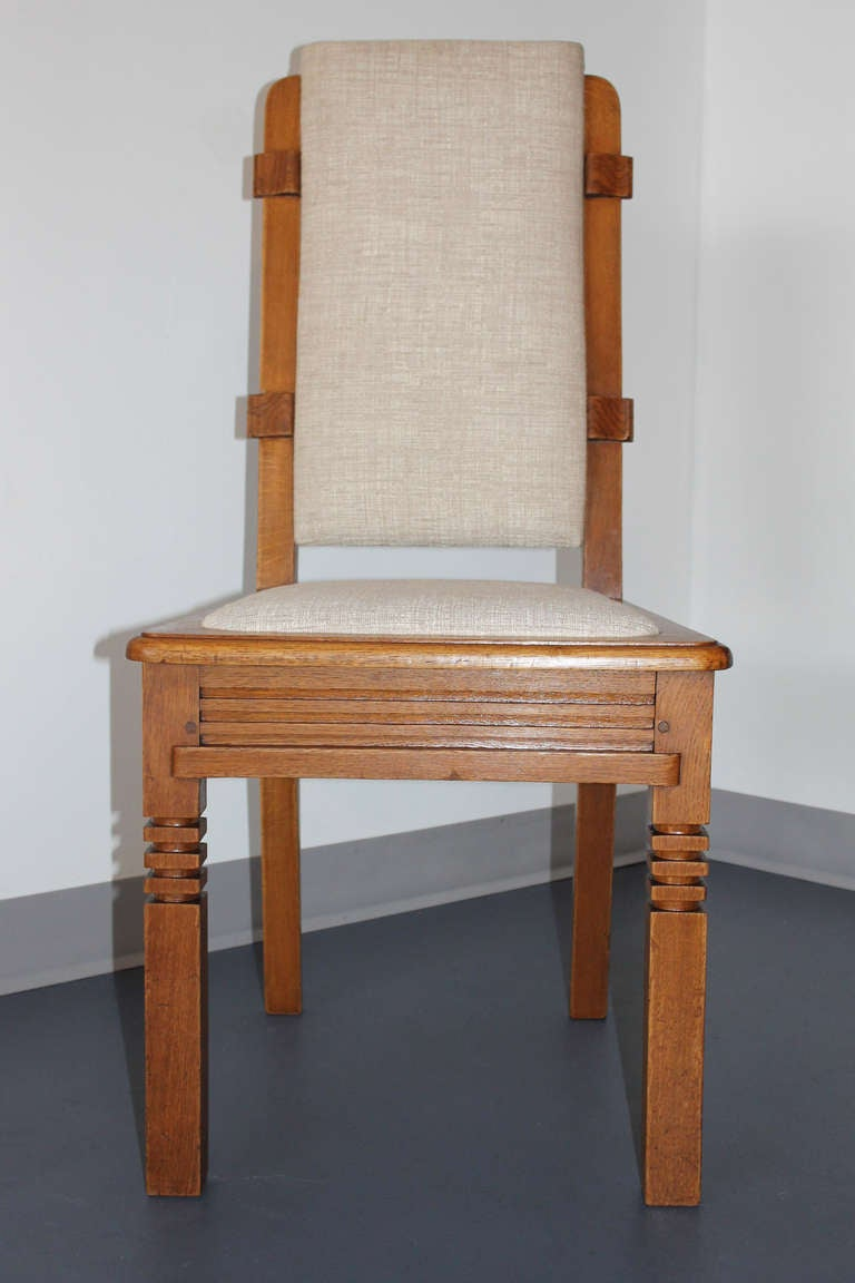 Carved 14 Chairs in Oak Designed by Charles Dudouyt For Sale