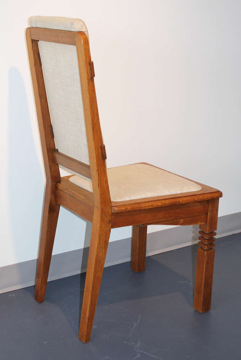 14 Chairs in Oak Designed by Charles Dudouyt In Excellent Condition For Sale In Miami, FL