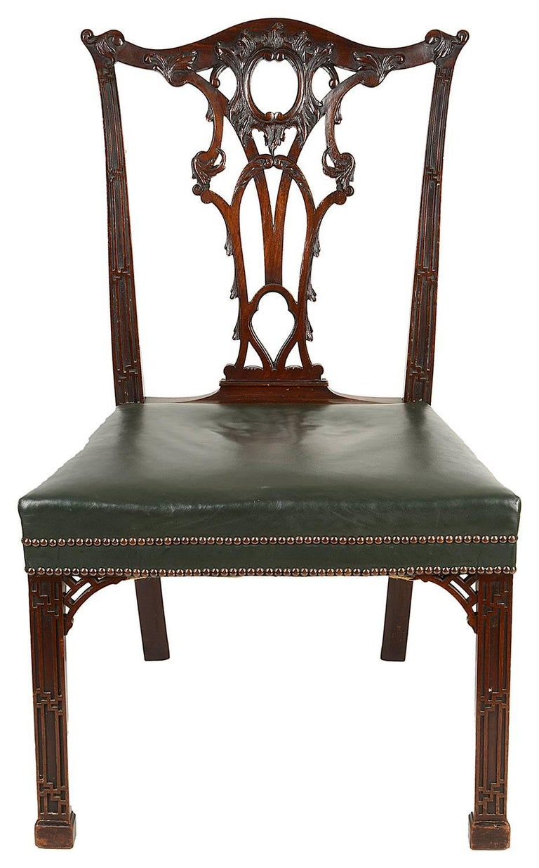 English 14 Chippendale Style 19th Century Dining Chair by Morant & Co. For Sale