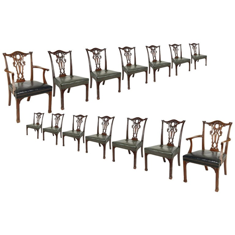 14 Chippendale Style 19th Century Dining Chair by Morant & Co. For Sale