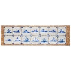 14 Delftware Tiles Plaque Blue & White Dutch Estuary Landscape Skiffs Windmills