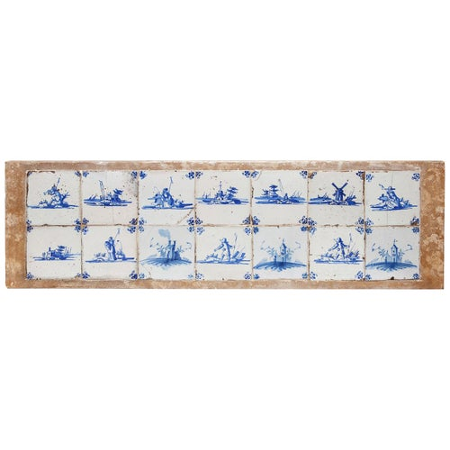 14 Delftware Tiles Plaque Blue & White Dutch Estuary Landscape Skiffs Windmills