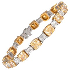Alexander 14 GIA 28.72 Carat Cushion & Emerald Cut Diamond Bracelet 18k