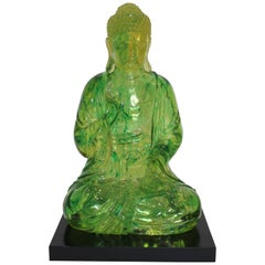 Green Lucite Seated Buddha