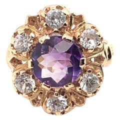 14 Karat 1.84 Carat Amethyst and 1.26 Carat Topaz Ring