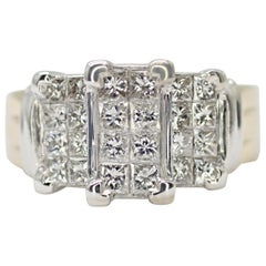 14 Karat 2-Tone 3-Stone Look Princess Cut Diamond Ring