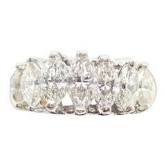 14 Karat 2-Tone 7 Marquise Cut Diamond Ring