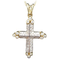 14 Karat 2-Tone Diamond Cross and Chain
