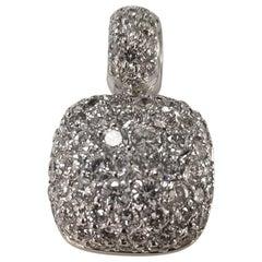 14 Karat 2-Tone Domed Cushion Shaped Diamond Pendant 2.55 Carat